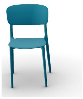 Calligaris Liberty Stacking Side Chair (Set of 4 Frame Color: Matte Petrol Blue