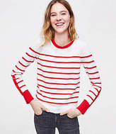 LOFT Striped Button Sleeve Sweater