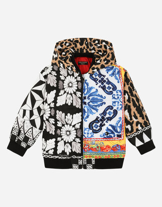 Dolce & Gabbana Waterproof Fabric Bomber Jacket With Carretto Patchwork Print
