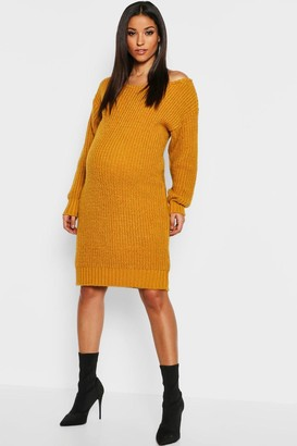 boohoo Maternity Slit Neck Knitted Sweater Dress