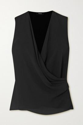 Theory Draped Wrap-effect Silk Crepe De Chine Blouse - Black
