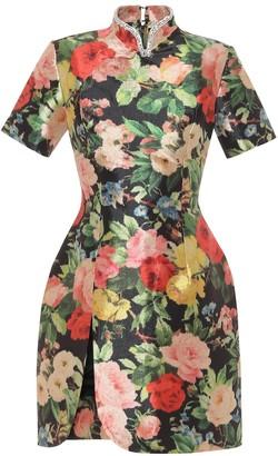 Richard Quinn Embellished floral taffeta minidress