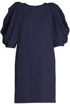 Dries Van Noten Washed Cotton Puff-Sleeve Shift Dress