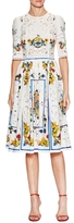Dolce & Gabbana Silk Printed Eyelet Dress