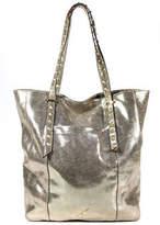 Brian Atwood Gold Metallic Split Cow Leather Studded Tote Handbag