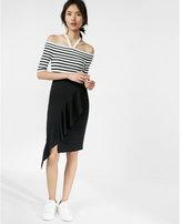 Express ruffle drape pencil skirt