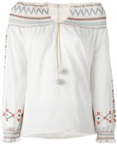 Vilshenko floral embroidery off-shoulder blouse - women - Cotton - 10