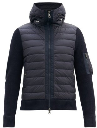 Moncler Down-quilted Wool-blend Hooded Cardigan - Navy