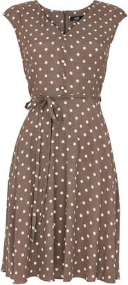 Wallis PETITE Taupe Polka Dot Dress
