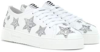 Miu Miu Glitter leather sneakers