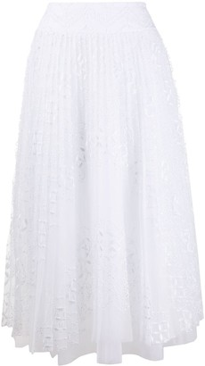 Ermanno Scervino Pleated Embroidered Pattern Skirt