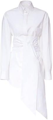 Alexandre Vauthier Cotton Stretch Shirt Dress W/ Self-Tie
