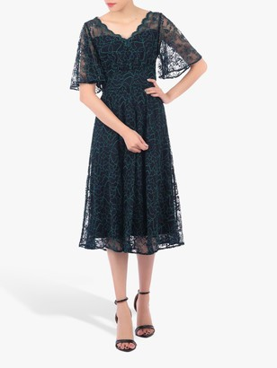 Jolie Moi Flare Lace Midi Dress