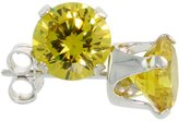 Sabrina Silver Sterling Silver Cubic Zirconia Citrine Earrings Studs 6 mm Color 2 carat/pair