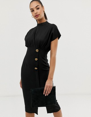 ASOS DESIGN linen midi dress with high neck and tortoiseshell buttons