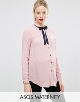 Asos Blouse with Neck Tie and Embroidered Collar