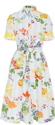 Carolina Herrera Floral-Print Belted Cotton-Blend Midi Shirt Dress