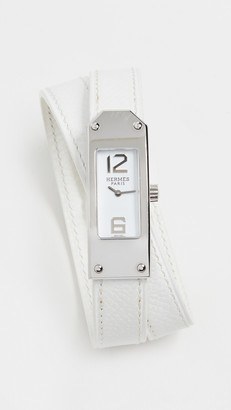 Hermes White/Silver Kelly Double Watch