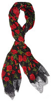 Betsey Johnson Roses Are Red Lace Trimmed Scarf