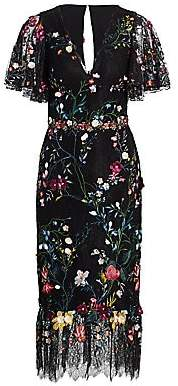 Marchesa Women's Floral Embroidery Lace Midi Dress