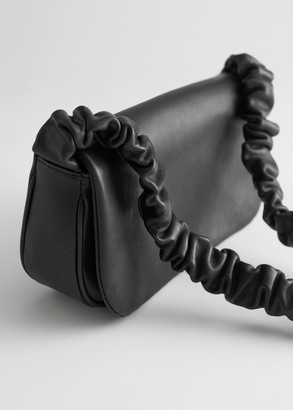 And other stories Ruched Strap Leather Shoulder Bag