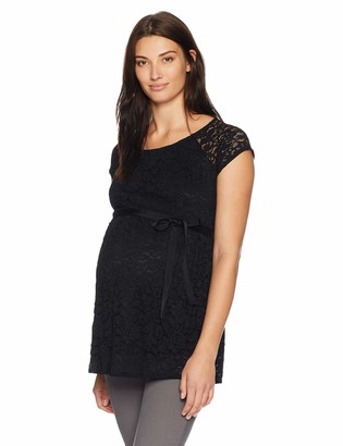 Motherhood Maternity Women's Maternity Cap Sleeve Tie Front Lace Peplum Top