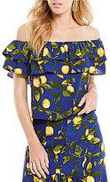 Gianni Bini Maggie Off-the-Shoulder Lemon Print Blouse