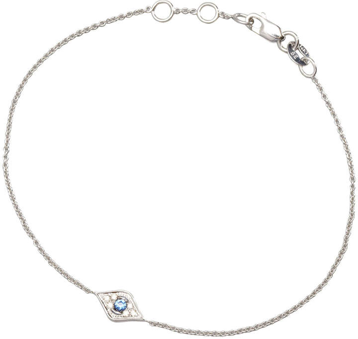 Sydney Evan Mini Diamond Evil Eye Bracelet, White Gold