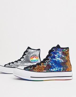 Converse Chuck 70 hi 2 way sequin rainbow pride trainers