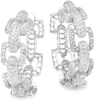 Fallon Rhodium Plated Cubic Zirconia Link Hoop Earrings