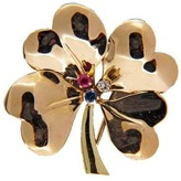 Tiffany & Co. 14K Yellow Gold Four Leaf Clover Ruby Sapphire Diamond Pin