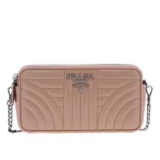 Prada Nappa Leather Shoulder Bag With Stitching And Metallic Logo