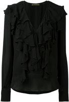 Plein Sud Jeans deep V-neck ruffled blouse
