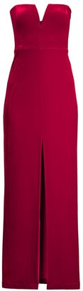 BCBGMAXAZRIA Strapless Velvet Gown