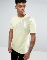 Nike Large Logo Print T-Shirt In Yellow 897143-042