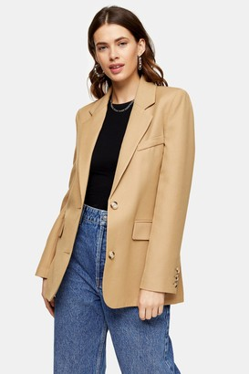 Topshop Womens Camel Single Breasted Suit Blazer - Camel