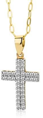 Miore 9ct Yellow Gold Zirconia Cross Pendant Necklace on 45cm Chain MA9049ZN