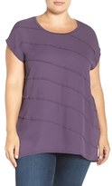 Sejour Plus Size Women's Mixed Media High/low Tee