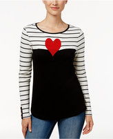 Charter Club Long-Sleeve Beaded-Heart Top, Only at Macy's