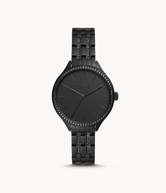 Fossil Suitor Three-Hand Black Stainless Steel Watch jewelry