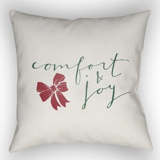"The Holiday Aisle Comfort & Joy Indoor/Outdoor throw cushion Size: 18"" H x 18"" W x 4"" D, Color: White Green"