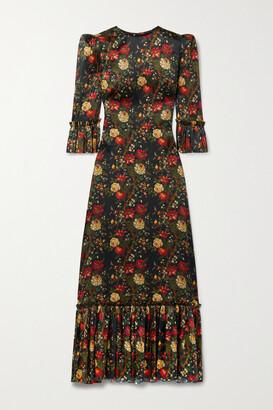 The Vampire's Wife The Festival Ruffled Floral-print Silk-satin Maxi Dress