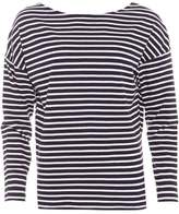 American Vintage Womens Cococity T-Shirt, Navy Striped Pearl White Tee