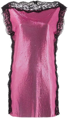 Christopher Kane Pink Chainmail Mini Dress
