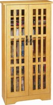 Leslie Dame M-371 High-Capacity Inlaid Glass Mission Style Multimedia Storage Cabinet