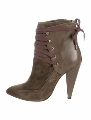 IRO Suede Pointed-Toe Ankle Boots Green