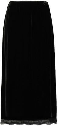 McQ Lace-trimmed Scalloped Velvet Midi Skirt