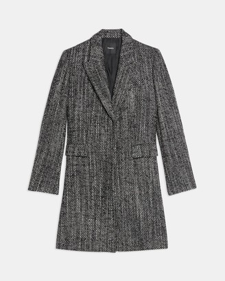Theory Single-Breasted Coat in Pressed Tweed