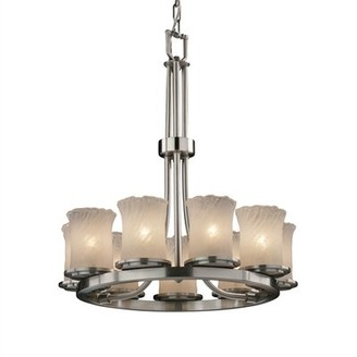 Darby Home Co Devita Ring 9-Light Unique / Statement Wagon Wheel Chandelier Darby Home Co Finish: Dark Bronze, Shade Pattern: Whitewash