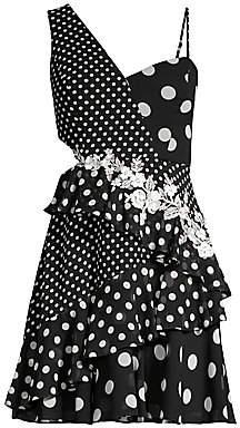 BCBGMAXAZRIA Asymmetric One-Shoulder Polka Dot Dress